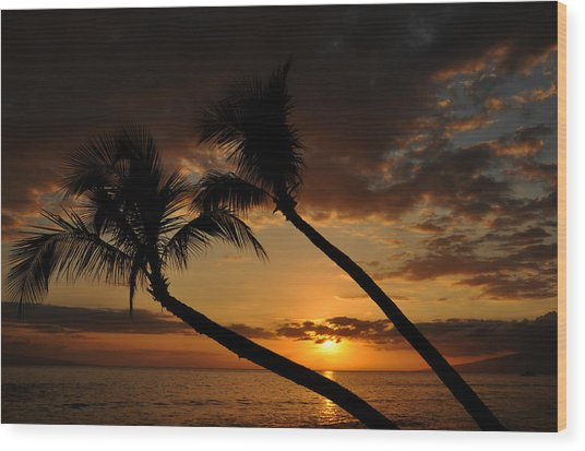 Ka'anapali Beach Sunset Wood Print