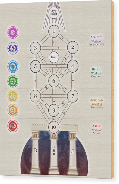 Kabbalistic Tree Of Life Wood Print by Selim Oezkan
