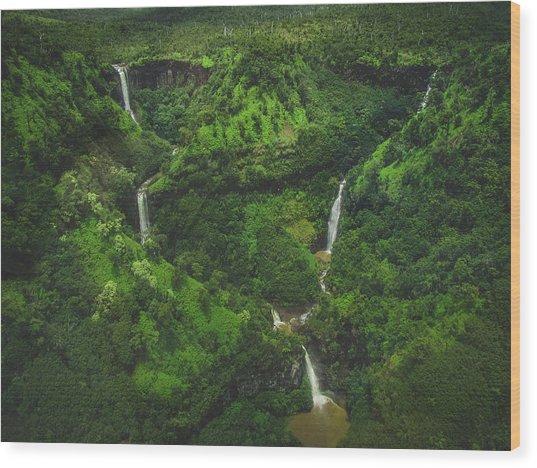 Kahili Falls Aerial Wood Print