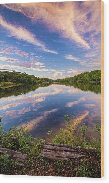Kahler's Pond Clouds Wood Print
