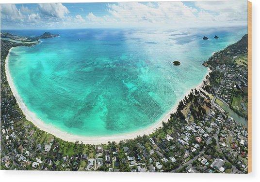 Kailua - Lanikai Overview Wood Print