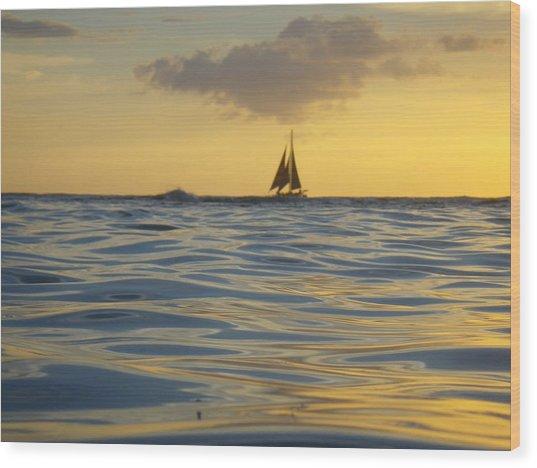 Kaimana Golden Sunset Wood Print by Erika Swartzkopf