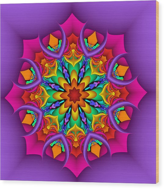 Kaleidoscope Flower 01 Wood Print
