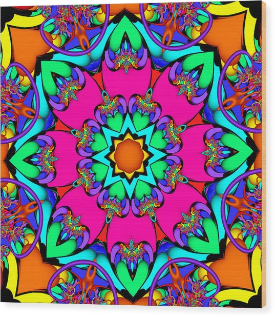 Kaleidoscope Flower 03 Wood Print