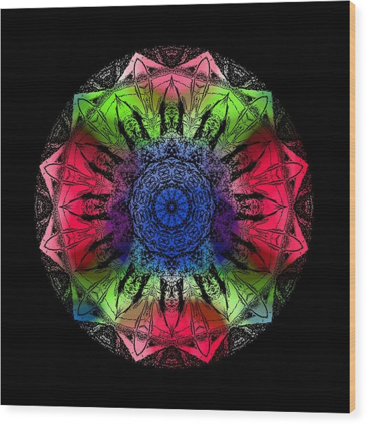 Kaleidoscope - Warm And Cool Colors Wood Print