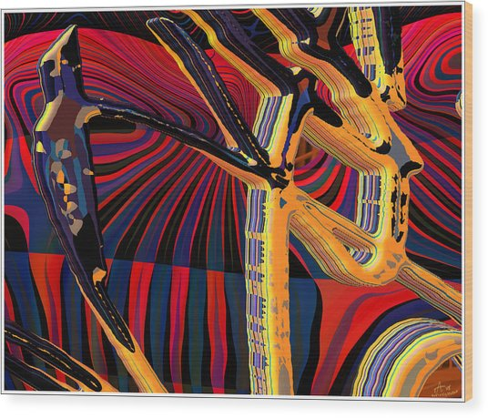 Kali-fa-callig10x11m8 Wood Print by Terry Anderson