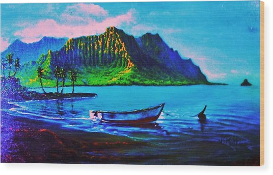 Kaneohe Bay Afternoon -with Skiff Wood Print