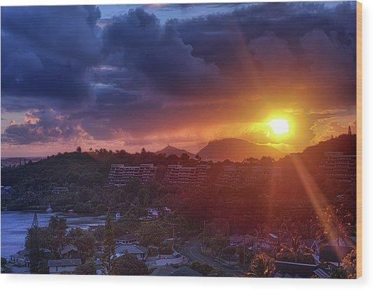 Kaneohe Sunrise Wood Print