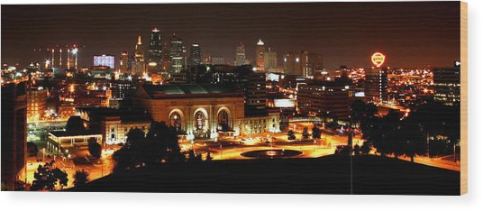 Kansas City Lights Wood Print