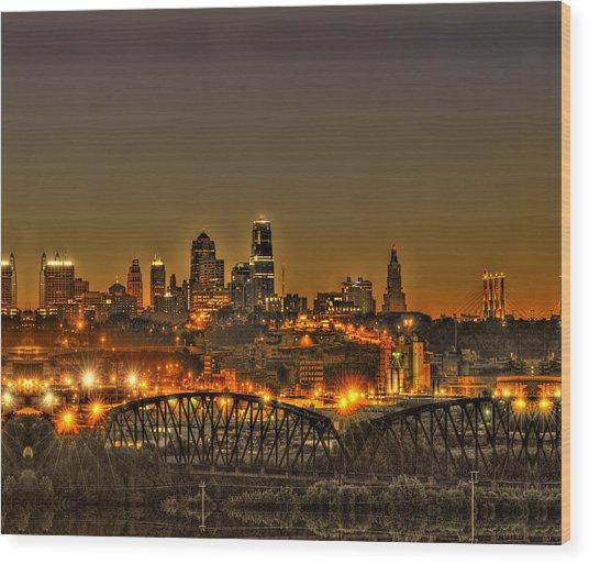 Kansas City Missouri At Dusk Wood Print