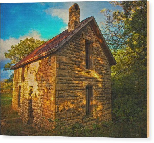 Kansas Countryside Stone House Wood Print