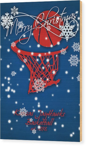 Kansas Jayhawks Christmas Card 2 Wood Print