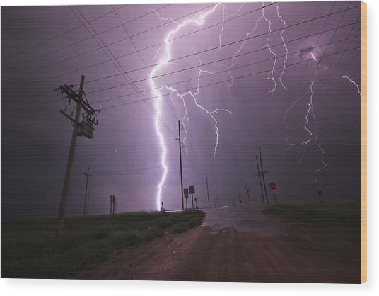 Kansas Lightning Wood Print