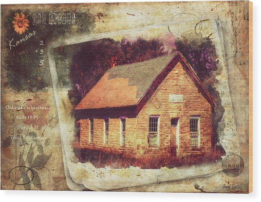 Kansas Old Stone Schoolhouse Wood Print