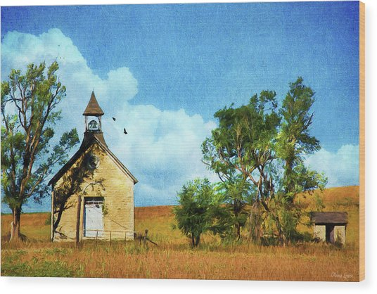 Kansas Prairie Schoolhouse Wood Print