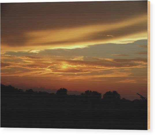 Kansas Summer Sunset Wood Print