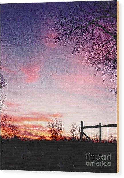 Kansas Sunrise With Fence Wood Print