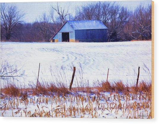 Kansas Winter Field Barn 1 Wood Print