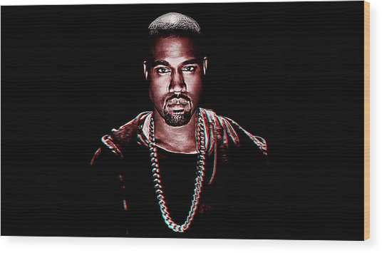 Kanye West Wood Print