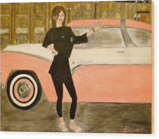 karen-Model in black with pink car Wood Print