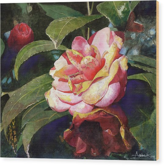 Wood Print featuring the painting Karma Camellia by Andrew King