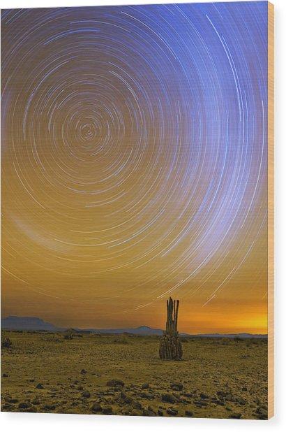 Karoo Desert Star Trails Wood Print by Basie Van Zyl