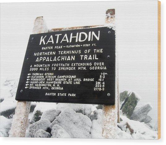 Katahdin - Baxter Peak Wood Print