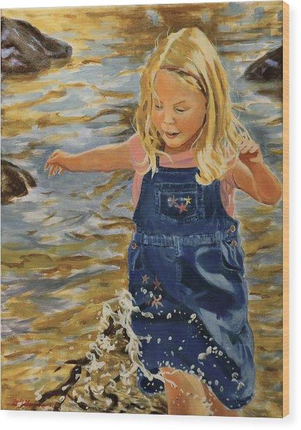 Kate Splashing Wood Print