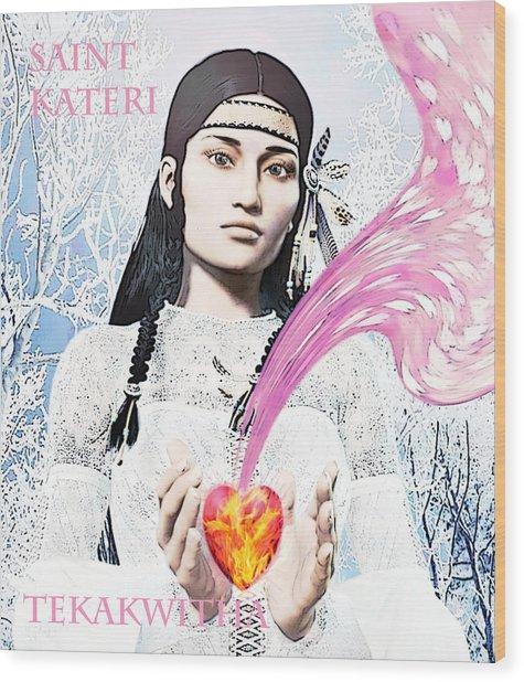 Kateri Tekakwitha Valentine Image Wood Print