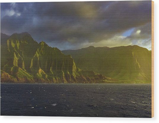 Kauai Golden Sunset Wood Print