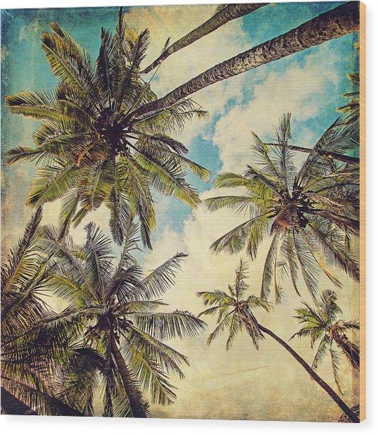 Kauai Island Palms - Blue Hawaii Photography Wood Print