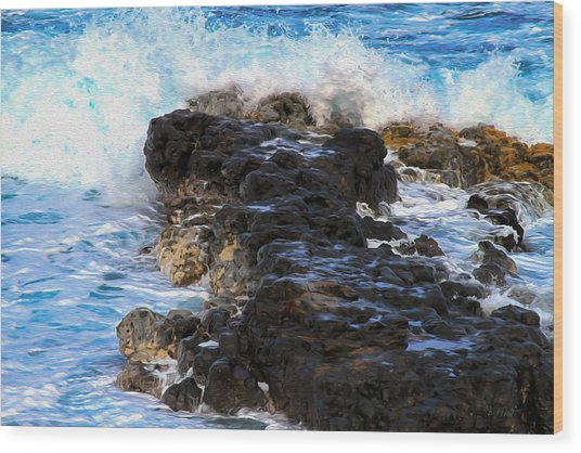 Kauai Rock Splash Wood Print