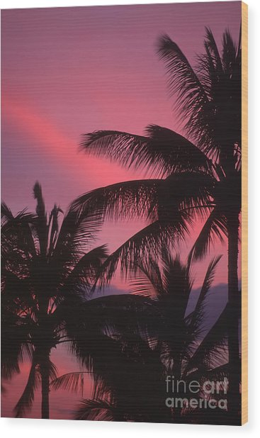Kauai Sunset 2 Wood Print by Stan and Anne Foster
