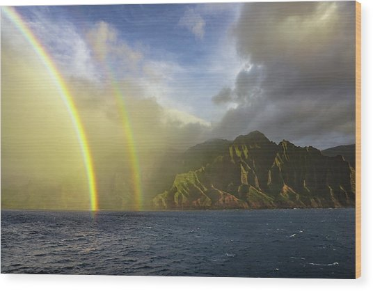Kauai Sunset Rainbow Wood Print