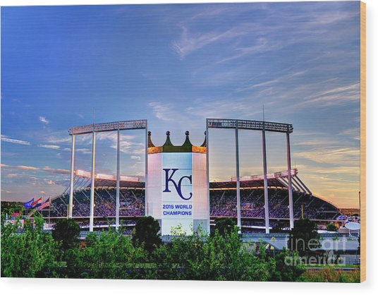 Royals Kauffman Stadium 2015 World Champions Wood Print