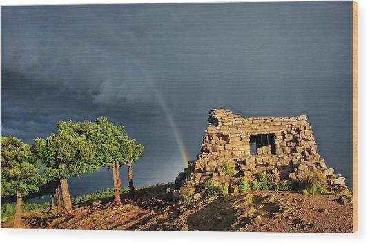 Kawanis Cabin Rainbow, Sandia Crest, New Mexico Wood Print