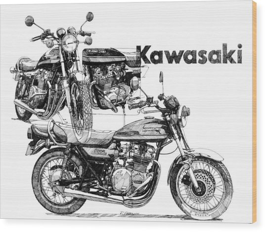 Kawasaki 900 Wood Print by Ron Patterson