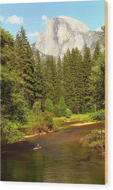 Kayak Below Half Dome Wood Print