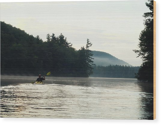 Kayak In The Fog Wood Print