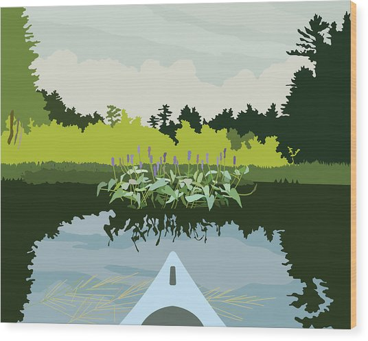 Kayak Wood Print by Marian Federspiel