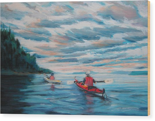 Kayakers Wood Print