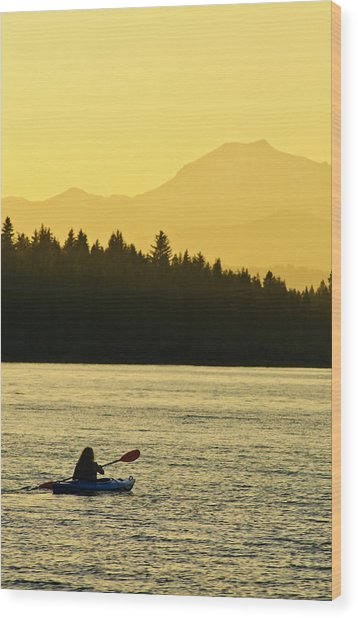 Wood Print featuring the photograph Kayaking Lake Almanor by Sherri Meyer