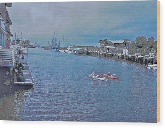 kayaking on Shem Creek Wood Print