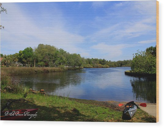 Kayaking The Cotee River Wood Print