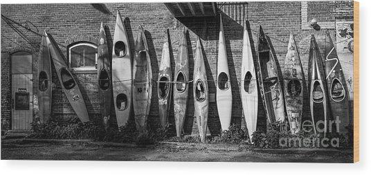 Kayaks And Canoes Wood Print
