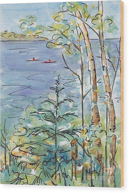 Kayaks On The Lake Wood Print