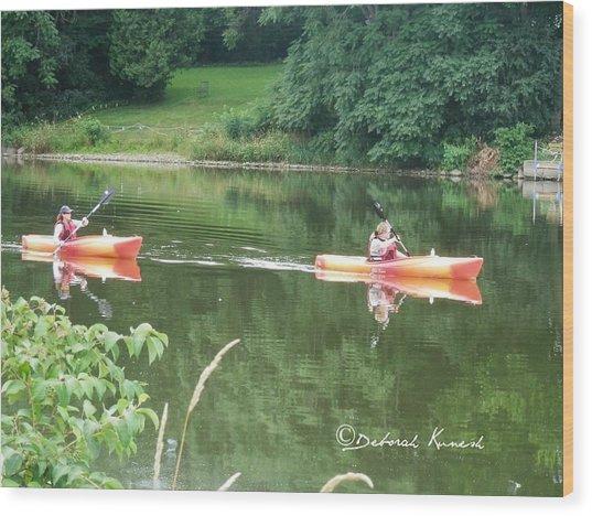 Kayaks On The River Wood Print