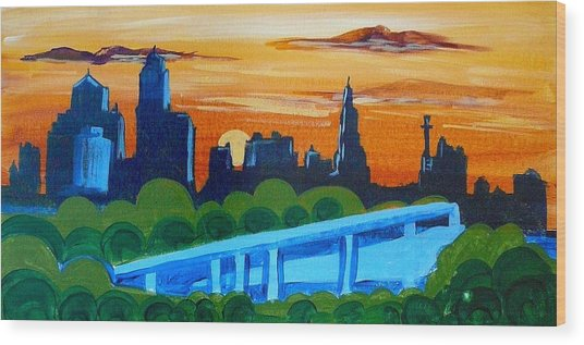 Kc Skyline At Sunset Wood Print