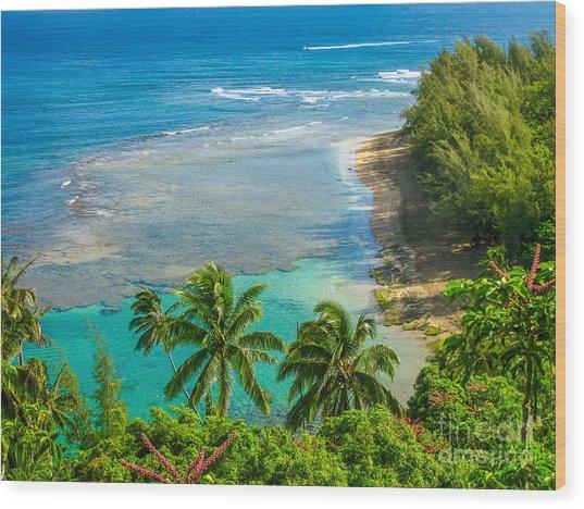 Kee Beach Kauai Wood Print