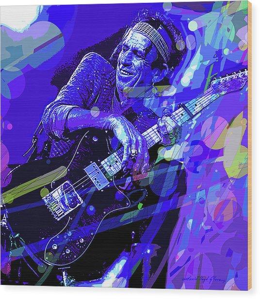 Keith Richards Blue Wood Print